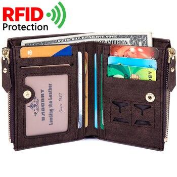 59f1a579b359 2018 короткая Для мужчин бумажник кражи Протек монет сумка молния RFID  Блокировка идентичность кошелек Для мужчин