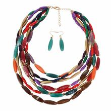 colorful layered necklace and earrings set for women jewelry set dubai jewelry sets sieraden sets