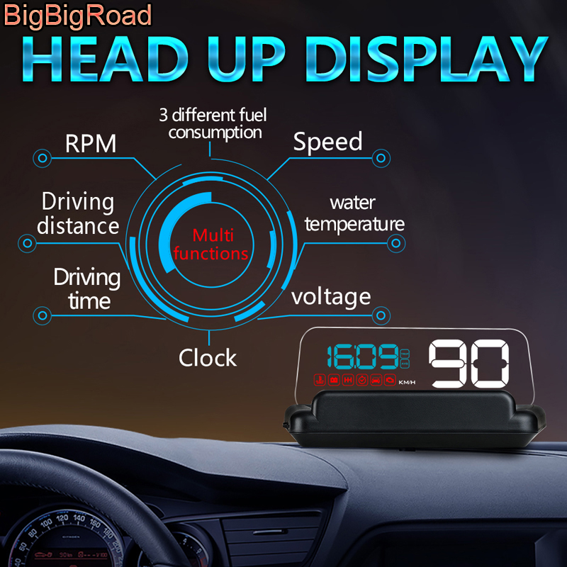 BigBigRoad Car Windscreen Projector On-Board Computer HUD Head Up Display OBD 2 EUOBD For Lincoln Navigator MKZ MKC MKX MKT MKS bigbigroad car hud obd 2 euobd windscreen projector speed head up display for kia niro mohave borrego k9 k900 kx3 k7 kx7 cadenza