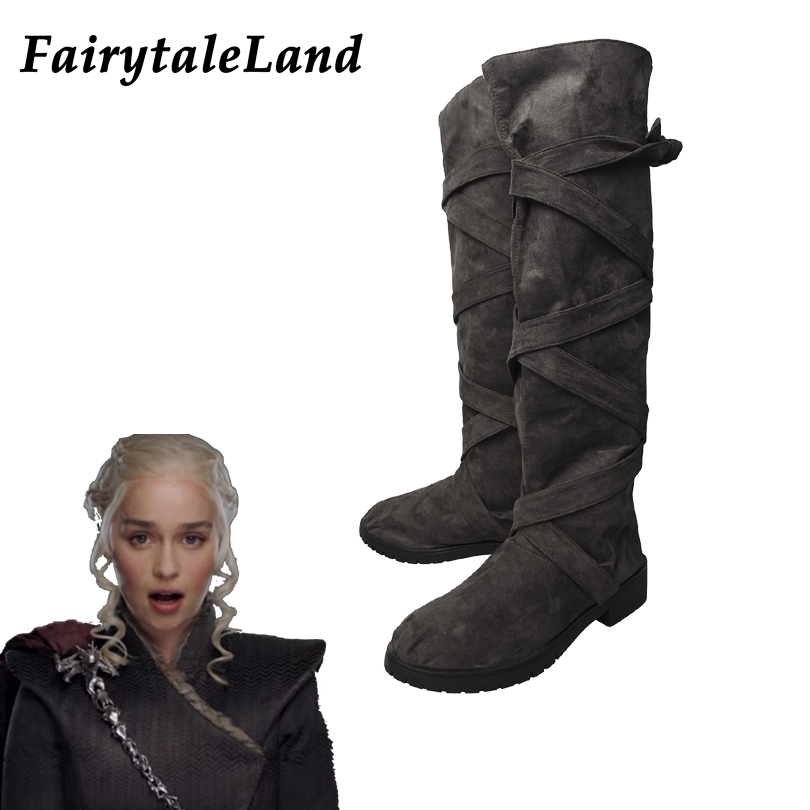Game of Thrones Season 7 Daenerys Targaryen shoes cosplay Boots Halloween cosplay accessories Women boots