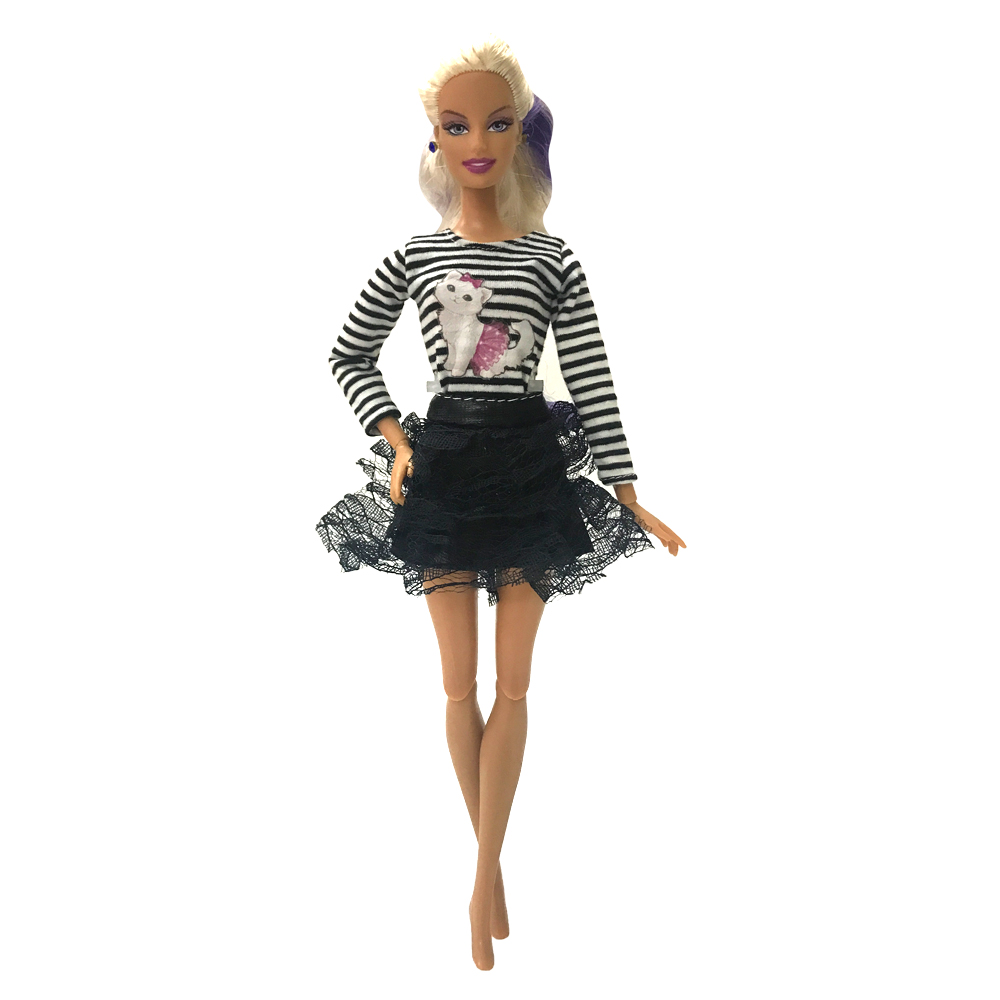 NK One Set Doll Clothes Dress Fashion Skirt Party Gown For Barbie Doll Accessories Baby Toys Girl Best Gift 054A DZ