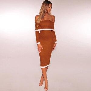 Image 2 - Deer Lady bandaża sukni 2019 nowości kobiety Off Shoulder bandażowy sukienka z długim rękawem Bodycon Midi sukienka bandaż Party Sexy