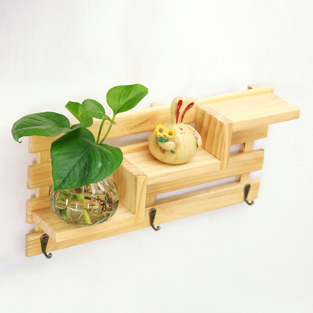 Wall Mounted Staircase Wooden Rack Storage Flower Bonsai Display ...