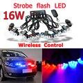 16 W Super poder de Controle Sem Fio Strobe flash led luz de advertência luz de Trabalho Do Carro DRL Strobe Polícia Bombeiro Cautela piloto lâmpada