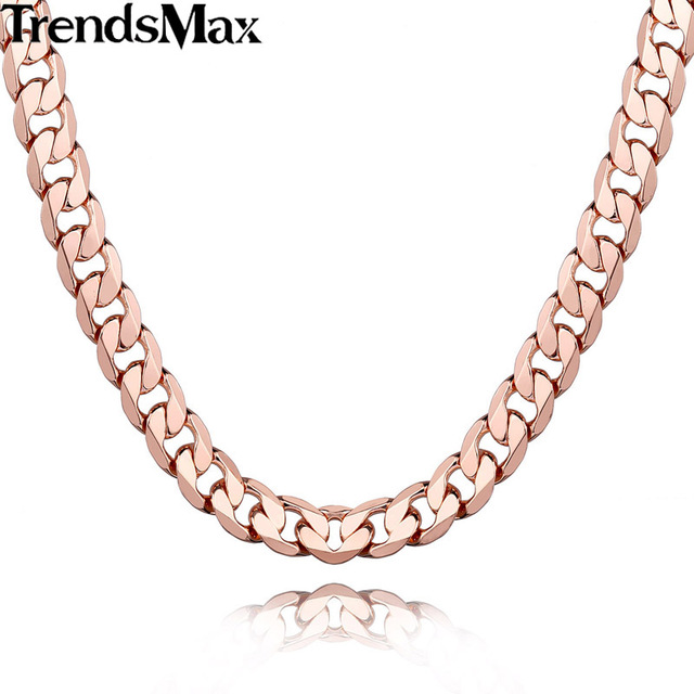 "Trendsmax 10/12MM Wide Mens Chain Boys Curb Cuban Link Rose Gold Filled GF Necklace Customized Size 18-36"" Jewelry Gift GNM105"