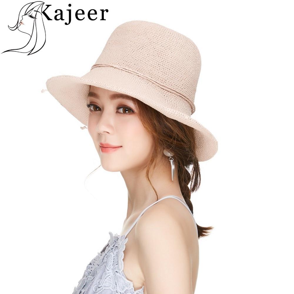 Kajeer Fashion Pink Boho Weave Floppy Straw Sun Hats For Women Foldable Wide Brim Summer Beach Hat Chapeu Feminino Vacation