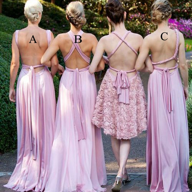 2015 New Arrival Long Chiffon Backless Sexy Bridesmaid Dresses Different Styles Wedding Guest Dresses