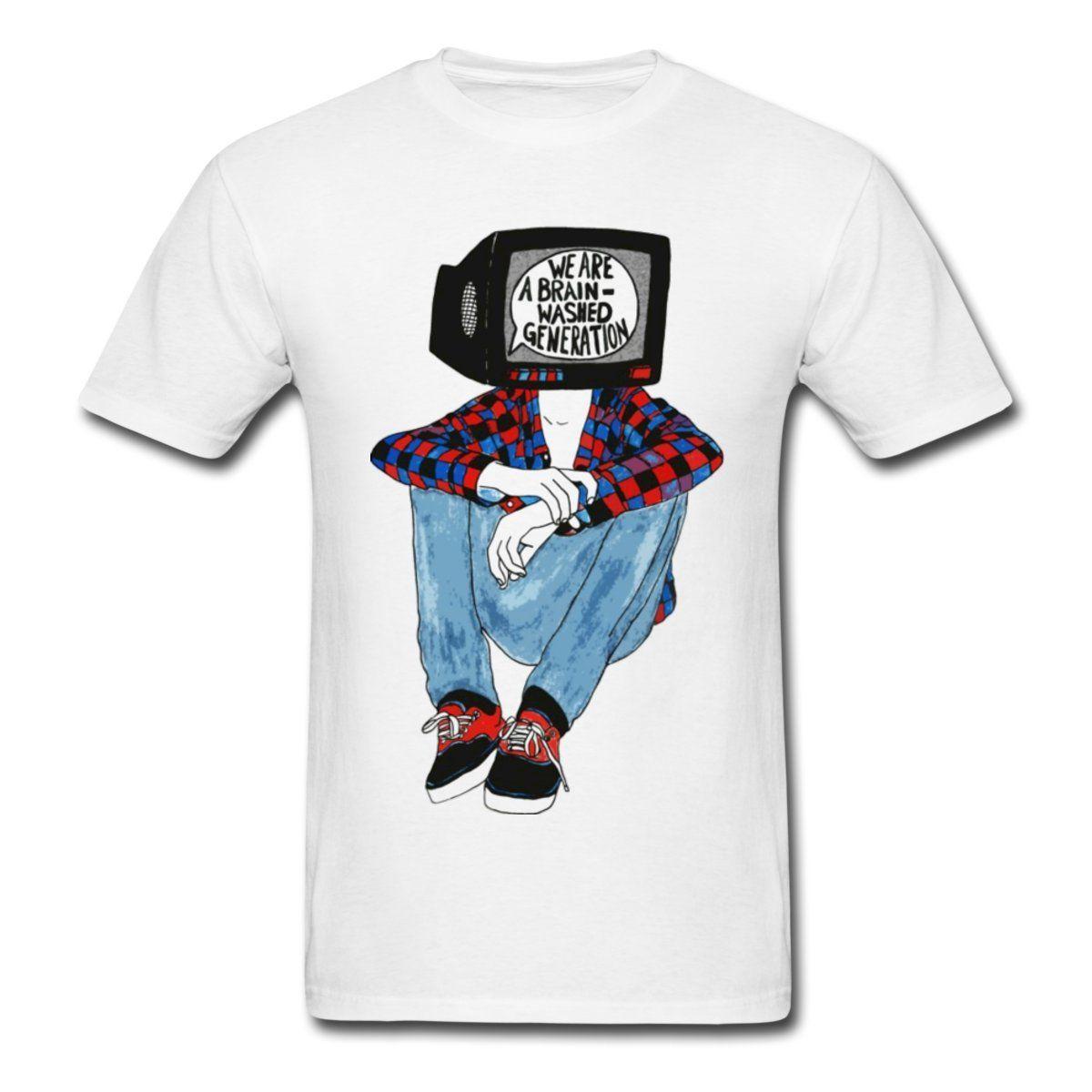 Shirt design generator - Online T Shirts Design Crew Neck Short Sleeve Zomer Brainwashed Generation T Shirts For Men