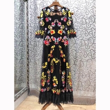 High quality embroidered floral lace dress 2019 spring runways half sleeves dress women's party dress G157 floral embroidered lace panel slip dress