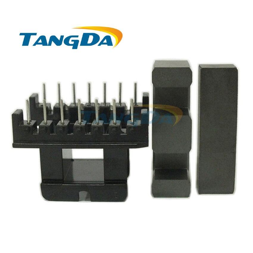 Tangda EI40 Bobbin Soft Ferrite core+skeleton Transformer EI Bobbin High frequency Power  7+7P 14pin PC40 horizontal sewing
