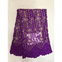 Best Selling African Tulle Lace Fabric Purple Color French Stones Lace Fabric 2018 High Quality Nigeria cord Lace Wedding Dress
