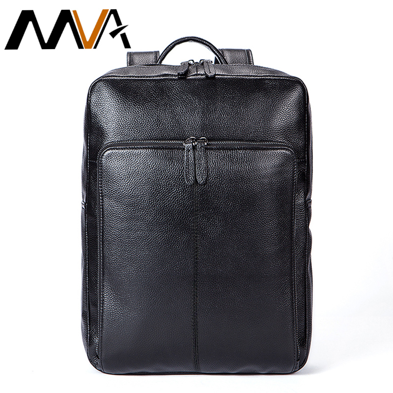 MVA Men Backpacks Male Rucksack Black Genuine Leather Backpack for School Bag Laptop Mochila Masculina Men