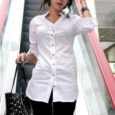 Women Blouse Office Shirt Formal Blusas Button Regular Solid Color