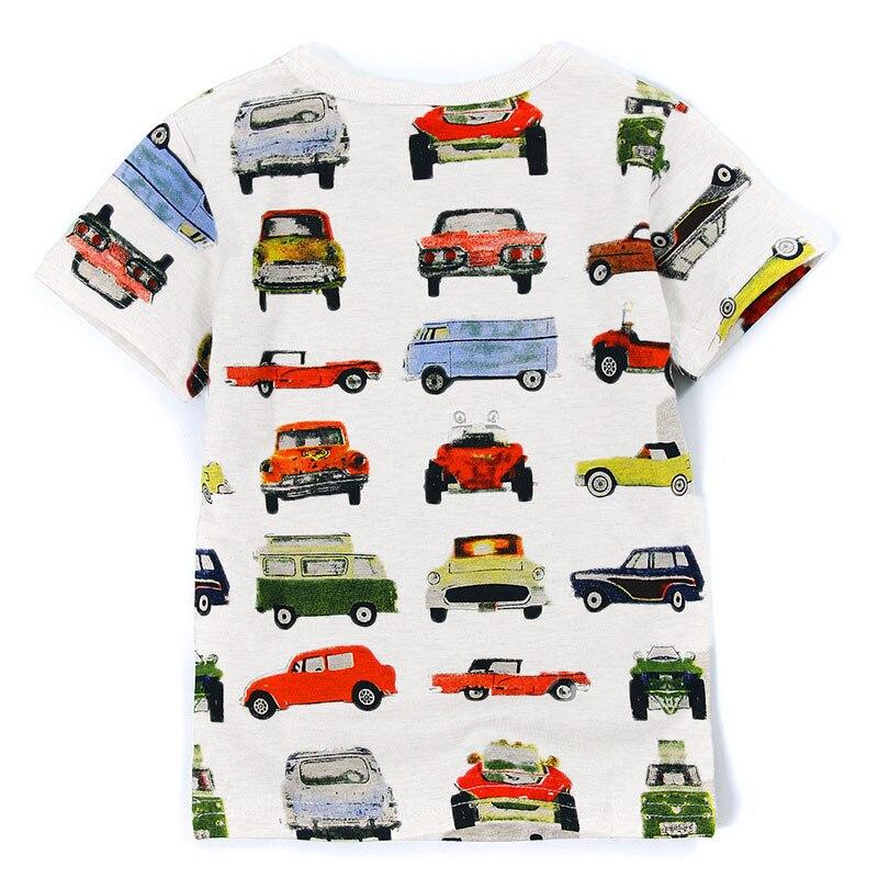 V-TREE; летние рубашки для мальчиков; хлопковые детские футболки; цветные топы для девочек; детская блузка с короткими рукавами; футболки для малышей; одежда для малышей - Цвет: white car