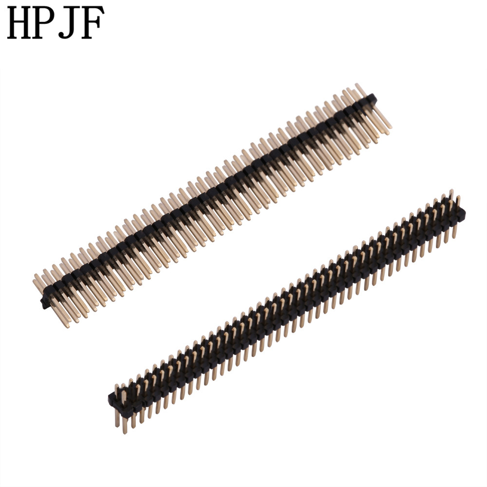 5PCS Gold Plated Pitch 1.27mm 2x40/2x50 Pin 80 Pin 100 Pin Double Row Male Pin Header Strip Straight Needle Connector 10pcs gold plated pitch 2 54mm 1x40 pin 40 pin double row smt smd male pin header strip connector