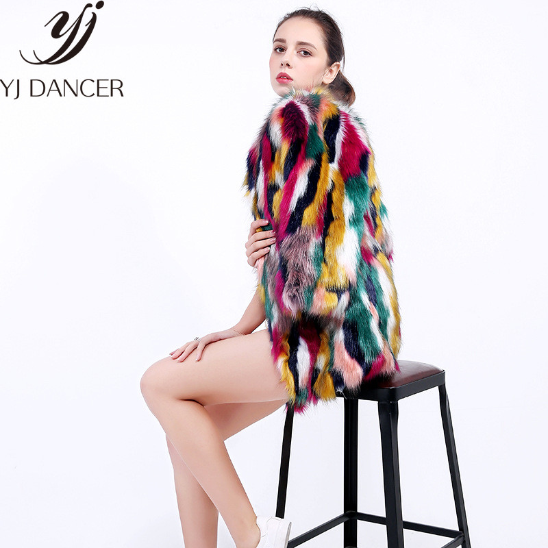 En Shown Longues Css306 Multicolore Femme D'hiver Coloré Femmes Fourrure Faux De Élégantes Manches Casual À 2018 Sans Manteaux As Col Manteau 74Rfq