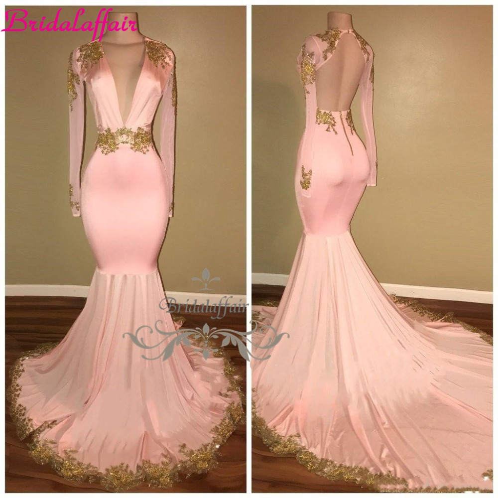 2018 Modest Sexy Open Back Pink   Prom     Dresses   Mermaid Deep V Neck Long robe de soiree Gold Appliques Sweep Train Evening Gowns