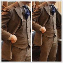 Винтажные коричневые мужские костюмы 2018 шерстяные твидовые