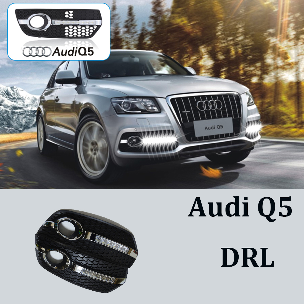 1 Set Car Styling Audi Q5 LED White Daytime Running Lights DRL Car Driving Lights Fog Lamp Cover For Audi Q5 2009 2010 2011 2012 led car light for audi a4 a4l b8 2009 2010 2011 2012 car styling led drl daytime running light daylight fog lamp cover hole