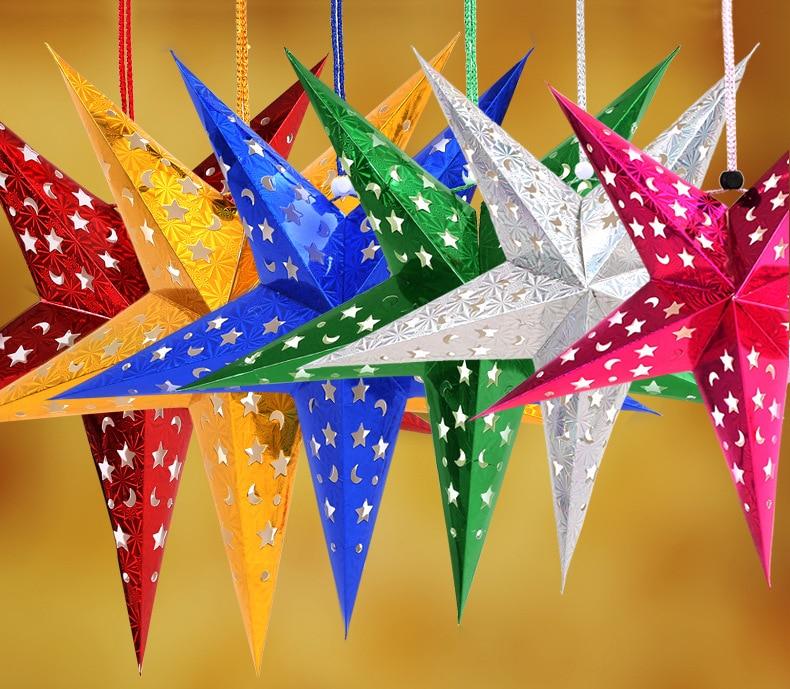 4pcs / Lot 30-60cm LED Star Handle Lanterns Lamp Laser Paper Glow - Varer til ferie og fester - Foto 1