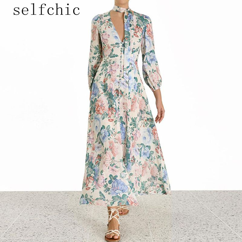 Dames robe florale lin robes longues 2019