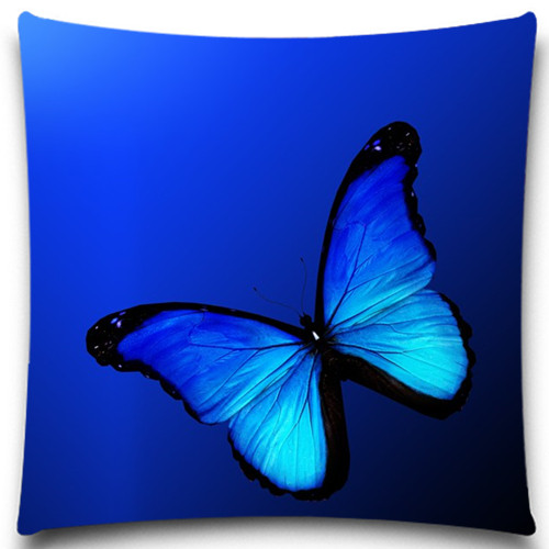 Navy Blue Purple Butterfly Square Pillow Case Bedding Room