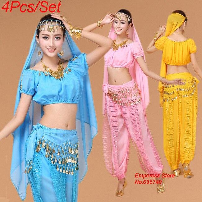 4st Magdansdräkt Bollywood Kostym Indisk Klänning Bellydance Klänning Dam Bellydans Kostym Set Ballettkjol 6 Färg