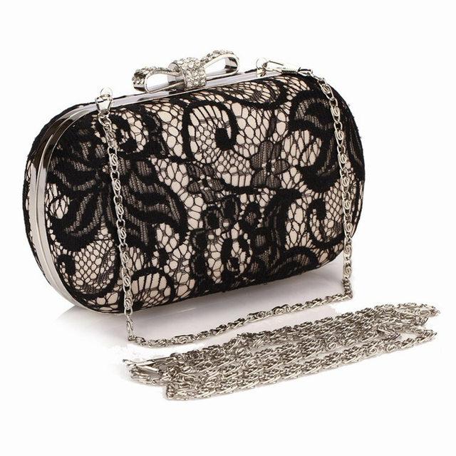 f26e43df8694 Online Shop 2018 Good Hollow Lace Clutch Bags New Black Lace Satin ...