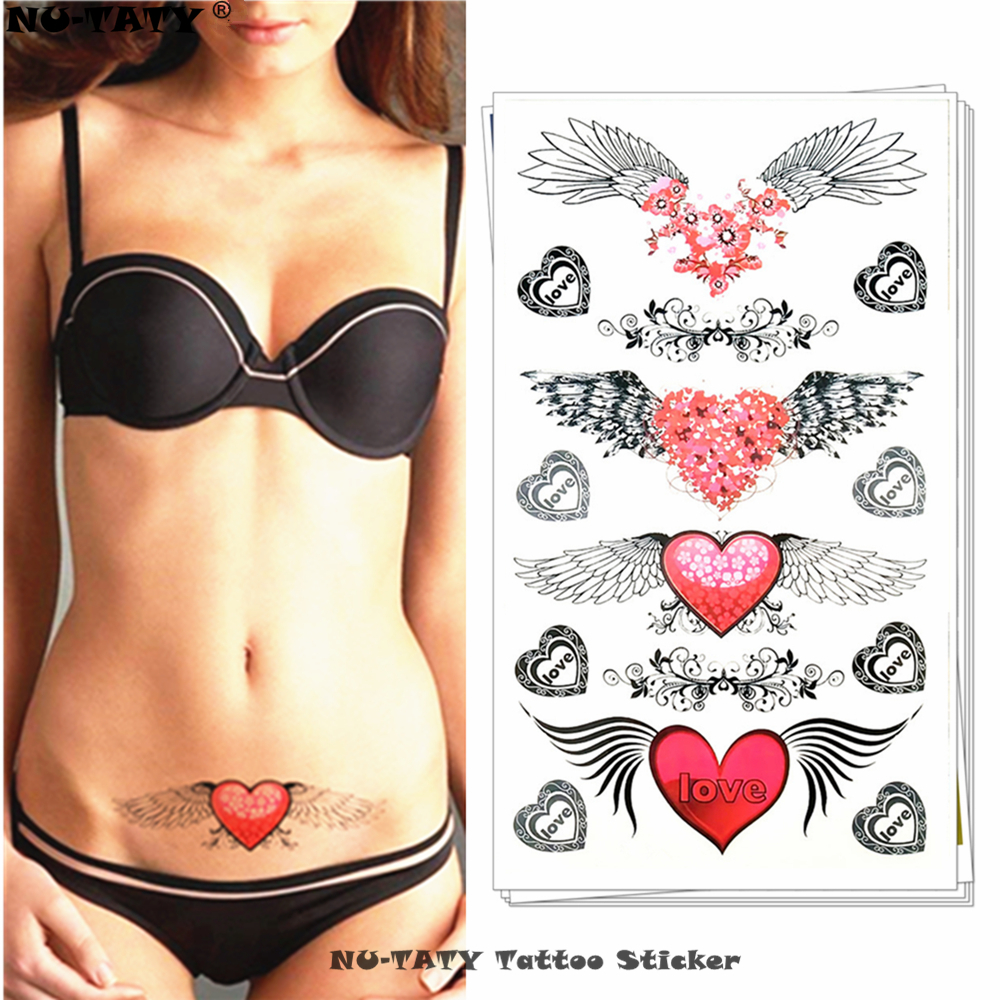 Nu-TATY Angel Wings Love Heart Temporary Tattoo Body Art Arm Flash Tattoo Stickers 17*10cm Waterproof Henna Painless