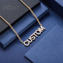 Trendy Crystal Pendant Letters Necklace for Women Custom Jewelry Custom Name Necklaces Personalized Zirconia iced out pendant trendy double hearts letters alloy pendant necklace for women