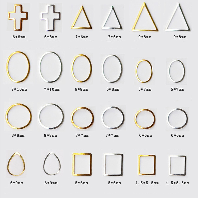 1 Pack 1000pcs Gold Silver Hollow 24 Designs Beauty Manicure Stud 3D Nail Art Decoration Charms DIY Nail 3d Art Accessories in Rhinestones Decorations from Beauty Health