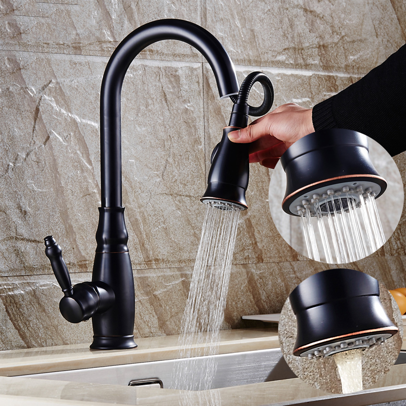 retro kitchen faucet american style black retro can pull faucet hot and cold copper antique kitchen sink faucet 5521