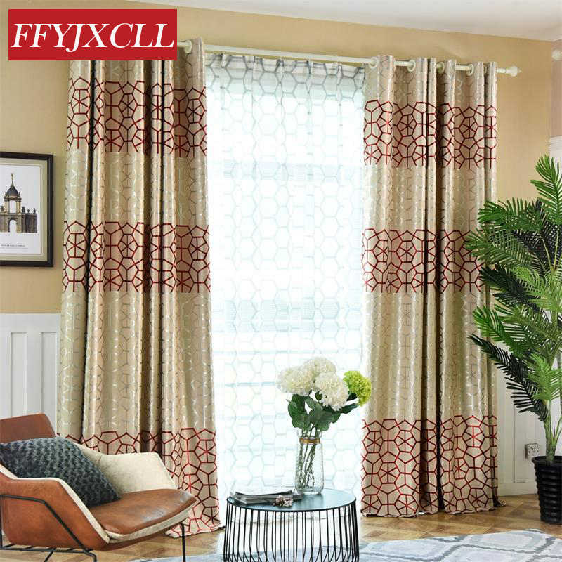 High Shading Curtains Double Sided Geometric Printed Jacquard Curtains for Living Room Bedroom Window Tulle for Kitchen