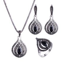 HENSEN Retro Antique Jewellery Set Silver Plated Fashion Vintage Rhinestone Jewelry Sets For Women Gift
