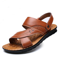OSCO New Fashion Summer Genuine Leather Sandals Causal Men Shoes Beach Elastic Slippers Male Sandals For Men