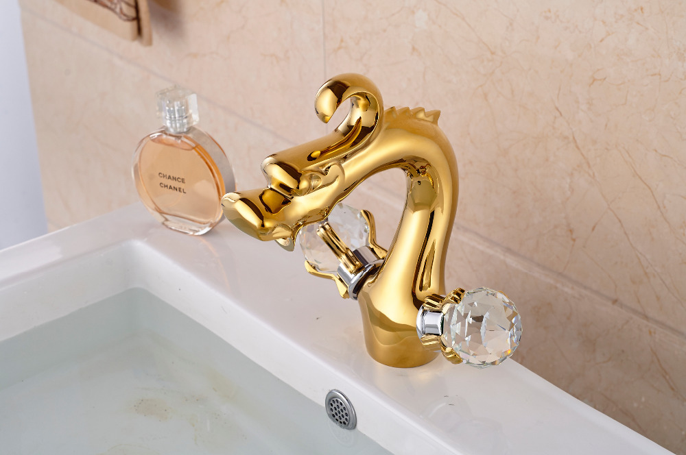 Modern Golden Brass Deck Mounted Bathroom Basin Faucet Sink Water Mixer tap 2 Crystal Handles цена