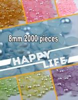 (2000 peças/pacote) 8mm ABS nhựa tròn phẳng lại nửa Trân hạt DIY Pure White màu hồng keo vàng vào các phụ kiện