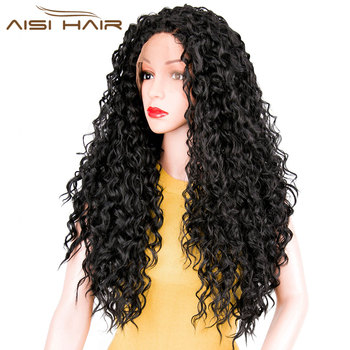 "I's a wig AISI HAIR  26""Long Curly Black Synthetic Lace Front  Wig with Baby Hair  African American Braided Wigs for  Women"