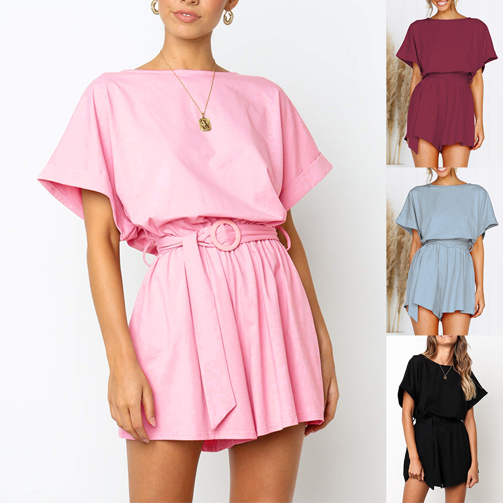 2019 women's spring and summer new round neck short sleeve casual tie   jumpsuit   new solid color belt   jumpsuit   shorts