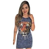 Women Bandage Dress Bodycon Sleeveless Club Short Mini Dress Summer Ladies Hollow Out Tiger Animal Print