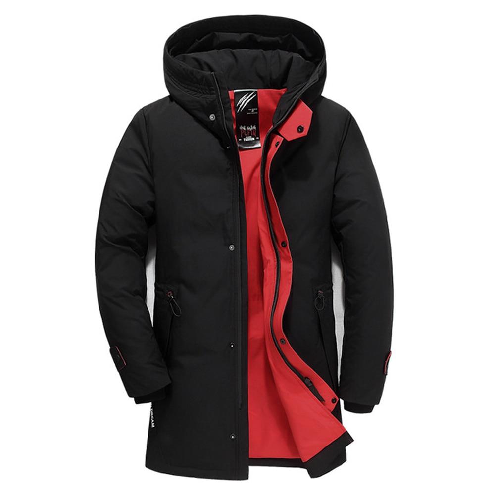 Men Winter Warm Thick Outwear Top Zipper Long Sleeve Hooded Slim Puffer Jacket