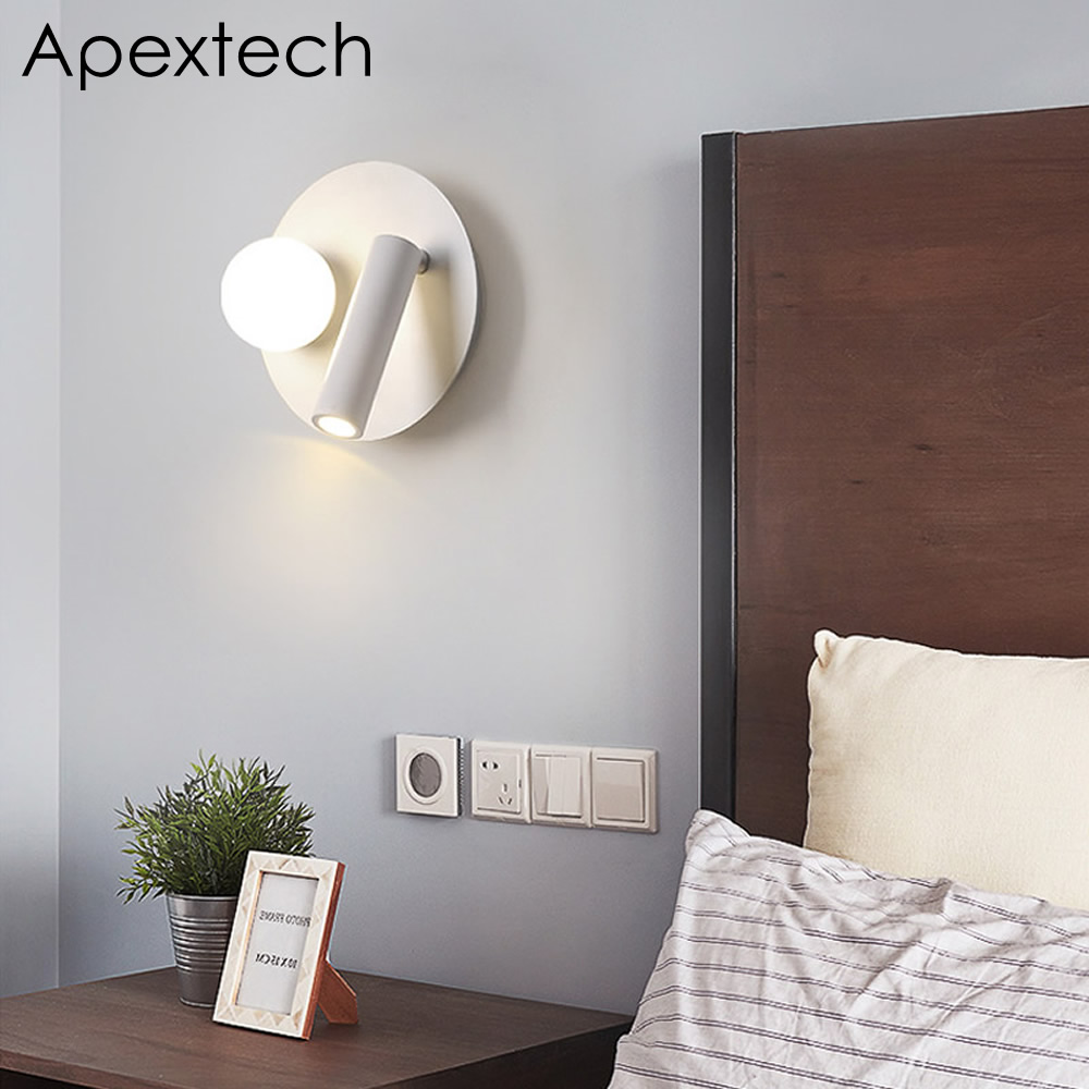 US $39.0 40% OFF|Apextech LED Wall Lamp Bedroom Night Light Wall Mounted  Bedside Reading Lights Angle Rotatable With Double Switch-in LED Indoor  Wall ...