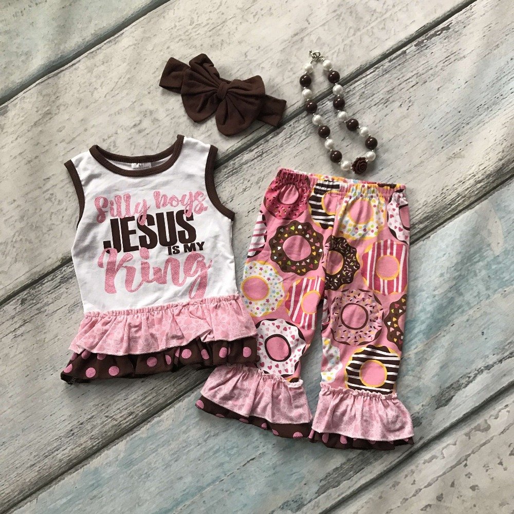 Summer baby girls outfits capris ruffles Doughnut cotton Jesus is my king boutique clothes kids sets cute matching accessories 2016 summer baby child girls outfits ruffles shorts white striped watermelon boutique ruffles clothes kids matching headband set