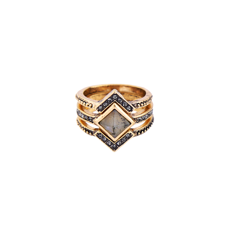 4 Pcs/Set Crystal Geometric Vintage Ring 2018 aliexpress Hot Sale Women Finger Ring Online Store Jewelry(China)
