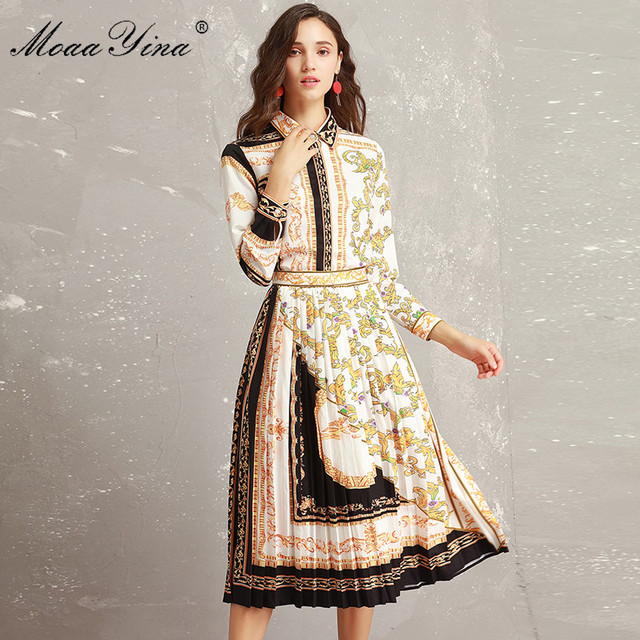 MoaaYina 2018 Autumn Designer Set Suit Women's Long sleeve Vintage Baroque Printed  Blouse + Midi Pleated Skirt Two-piece suit