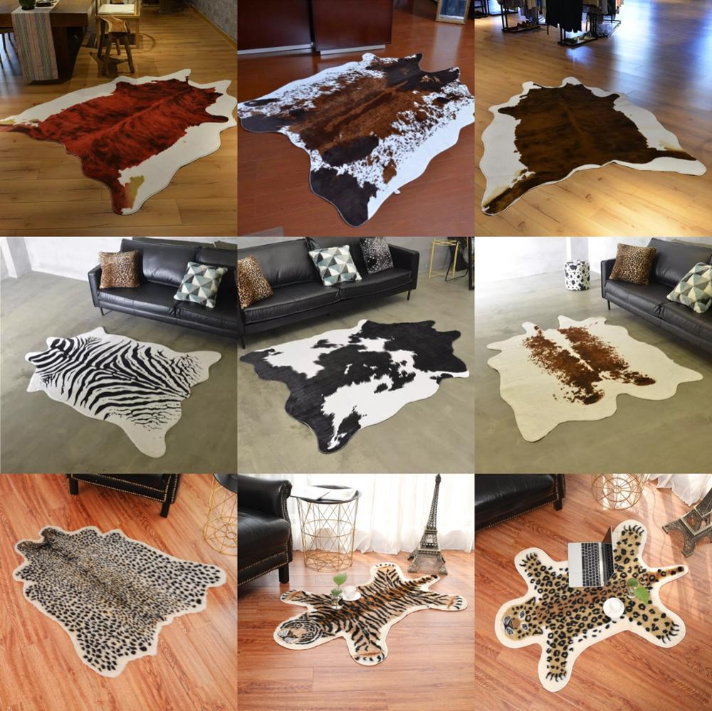2019 fashion Cowhide rug zebra stripe carpet white tiger leopard faux skin fur villi black bear mat sheep Cushion2019 fashion Cowhide rug zebra stripe carpet white tiger leopard faux skin fur villi black bear mat sheep Cushion
