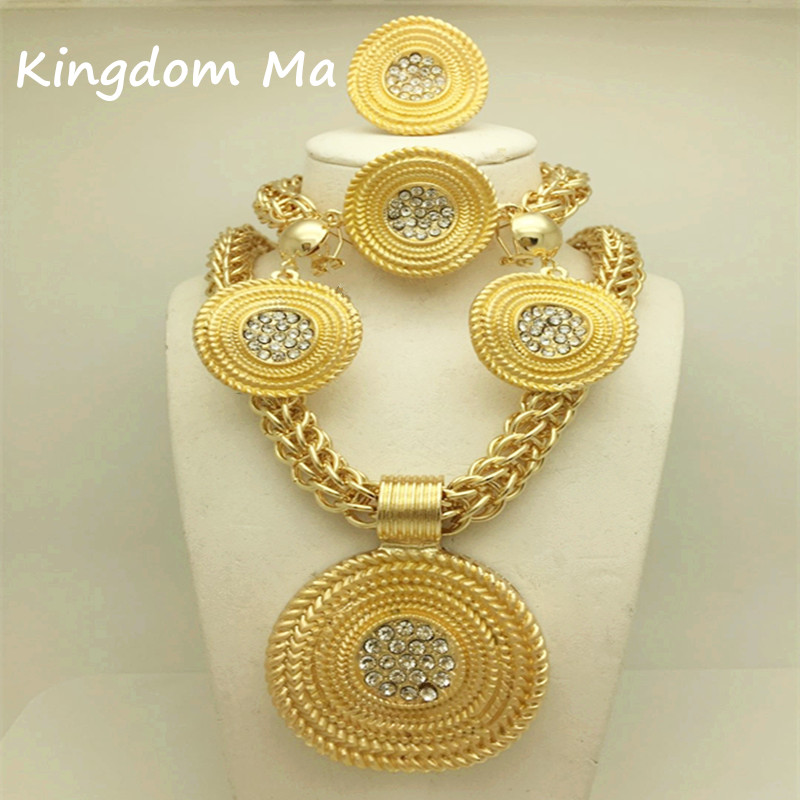 Kingdom Ma New Fashion African Wedding Jewelry Set Bridal Gold Color Necklace Bracelet Earrings Rings Sets