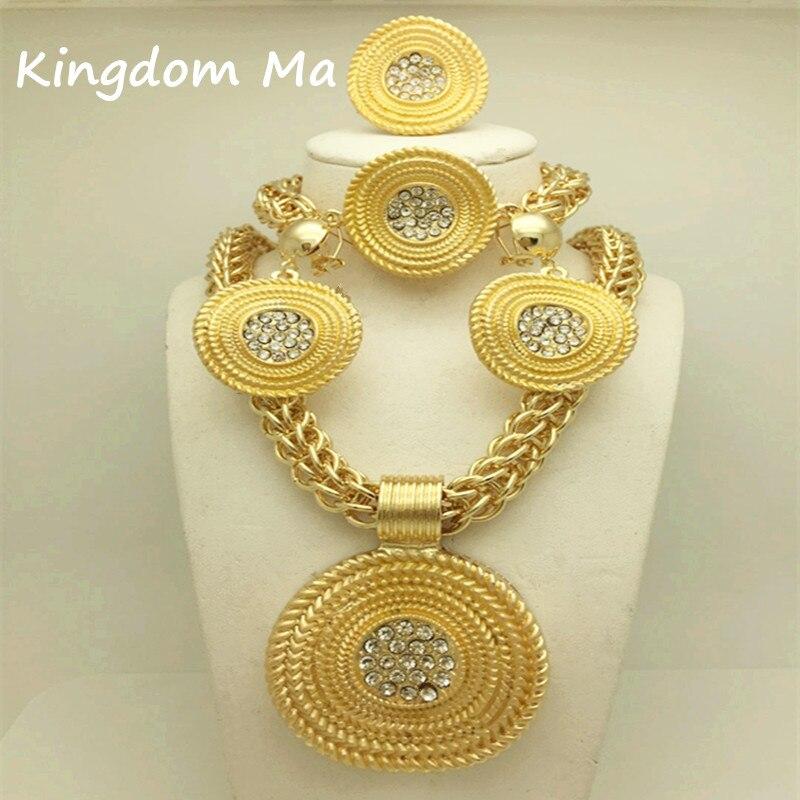 Koninkrijk Ma Nieuwe Mode Afrikaanse Bruiloft Sieraden Set Bruids Goud Kleur Ketting Armband Oorbellen Ringen Sets-in Bruids Sieraden sets van Sieraden & accessoires op  Groep 1