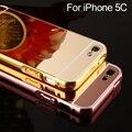 Para iphone 5c espelho hard case para iphone 5c luxo rosa moldura de alumínio de prata de ouro + acrílico casos de cobertura de caso para iphone 5C
