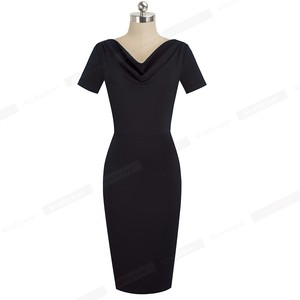 Image 3 - נחמד לנצח נשים בציר אלגנטי טהור צבע vestidos עסקים Bodycon נדן משרד עבודה לפרוע נשי שמלת B523